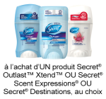Coupon Rabais Imprimable Sur Secret De 0.75$ pgEveryday
