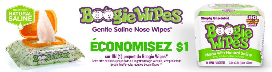 Coupon Rabais Par La Poste Sur Boogie Wipes De 1$ Sur Walmart