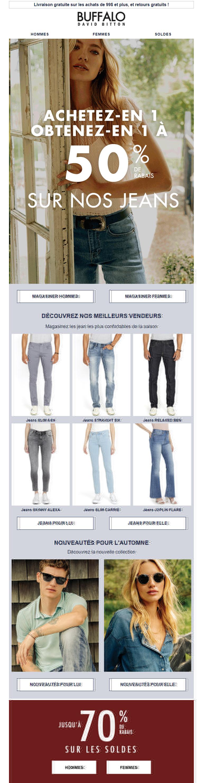 économisez 50 % Sur Votre Deuxième Paire De Jeans