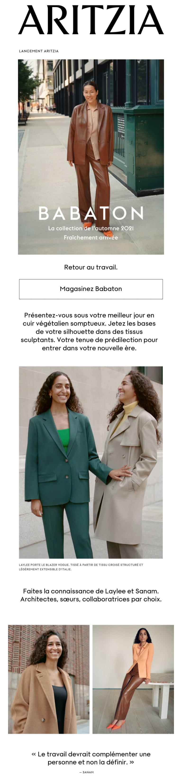 La Collection Babaton Atelier De L'automne 2021 Est Fraîchement Arrivée