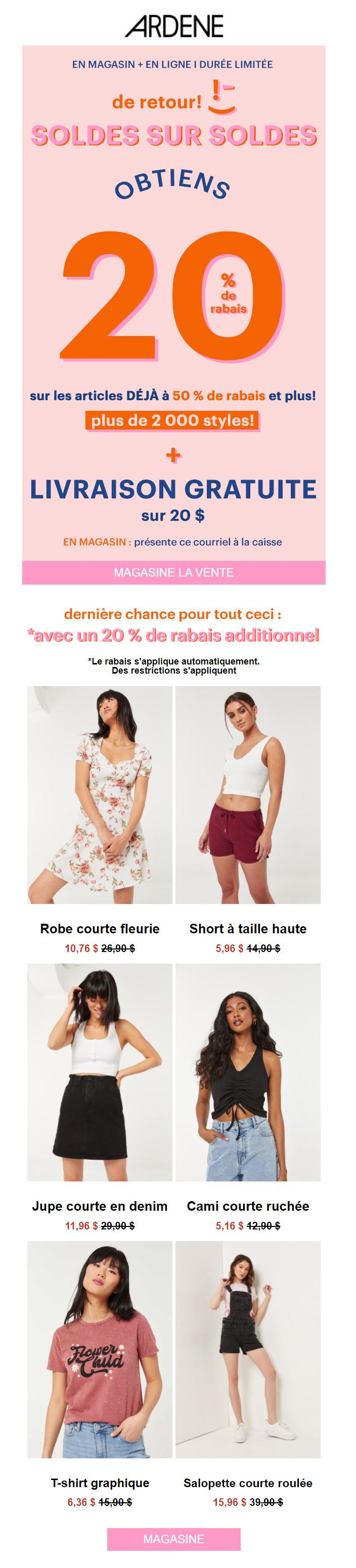 Retour Des Soldes Sur Soldes + Liv. 0 $
