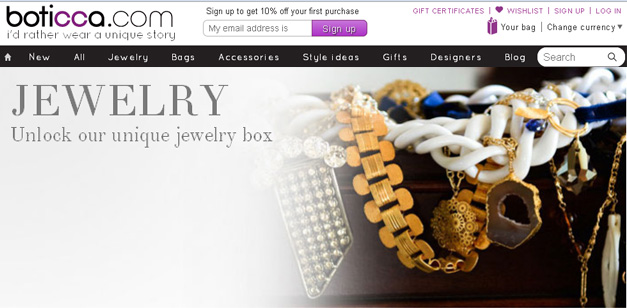 Boticca Online Jewelry