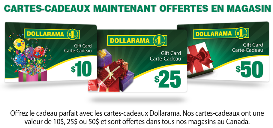 Cartes Cadeaux Dollarama
